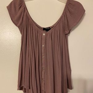 Cute Forever 21 off the shoulder button down top!